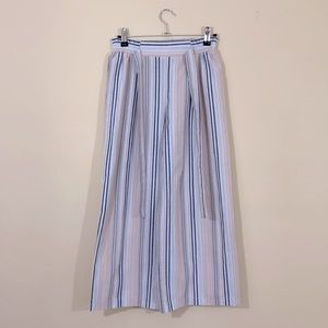 A. Byer Striped Wide Leg Cropped Pants High Waisted Palazzo Small White Pink